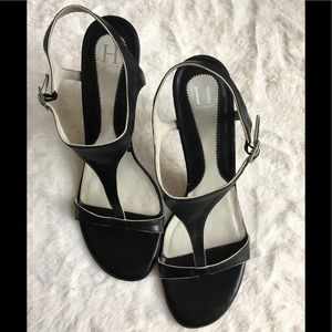 "Sexy T strap black & cream Tommy heels! 3.5"" high"